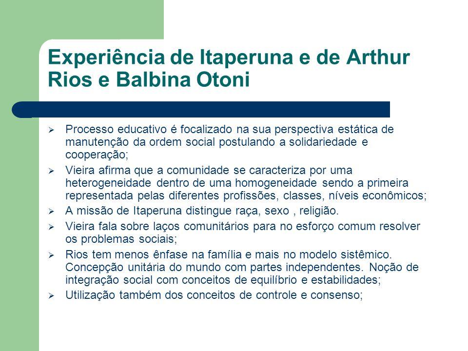 Experiência de Itaperuna e de Arthur Rios e Balbina Otoni  Processo educativo é focalizado na sua perspectiva estática de manutenção da ordem social