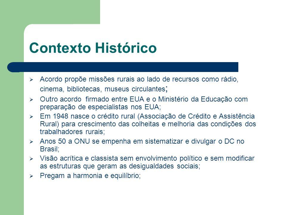 Contexto Histórico  Acordo propõe missões rurais ao lado de recursos como rádio, cinema, bibliotecas, museus circulantes ;  Outro acordo firmado ent