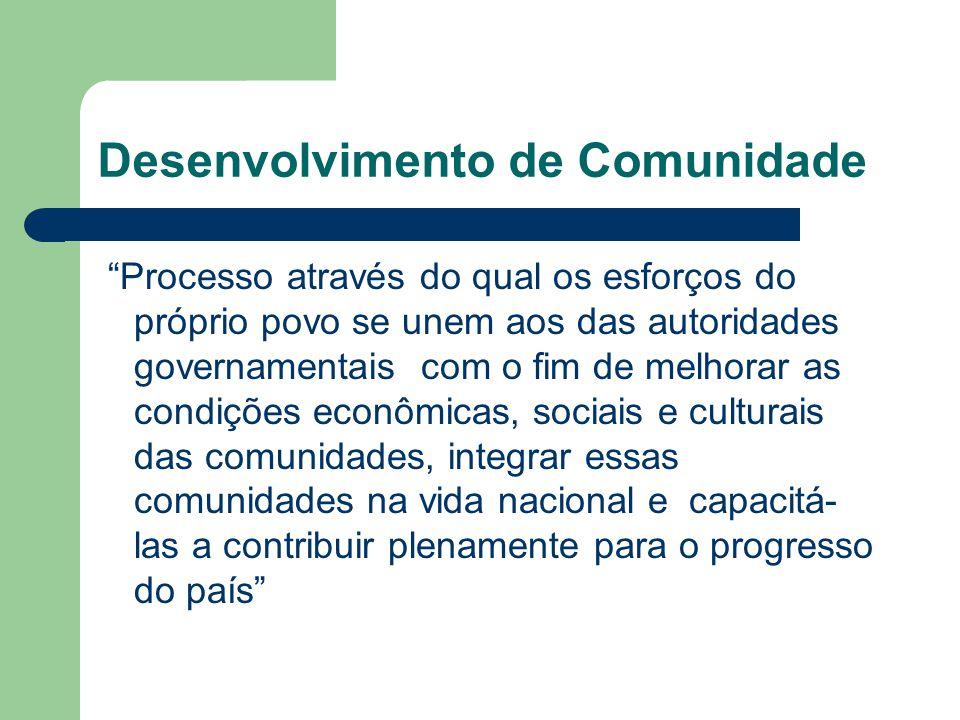 """Desenvolvimento de Comunidade """"Processo através do qual os esforços do próprio povo se unem aos das autoridades governamentais com o fim de melhorar a"""