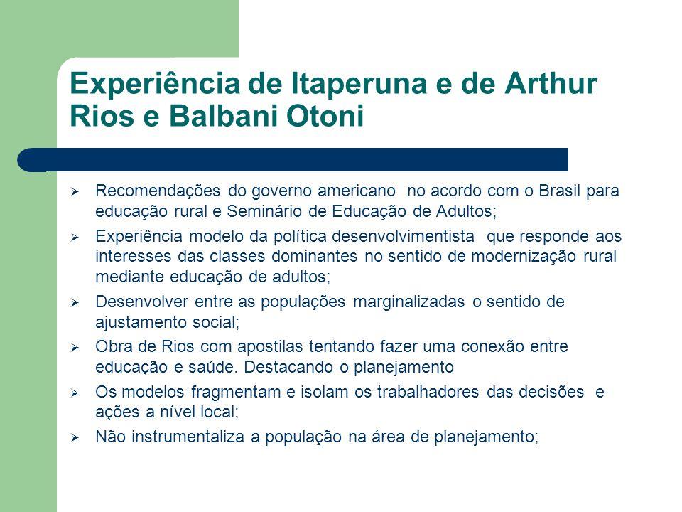 Experiência de Itaperuna e de Arthur Rios e Balbani Otoni  Recomendações do governo americano no acordo com o Brasil para educação rural e Seminário