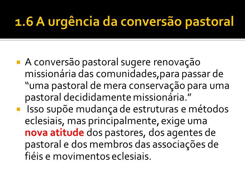 """ A conversão pastoral sugere renovação missionária das comunidades,para passar de """"uma pastoral de mera conservação para uma pastoral decididamente m"""