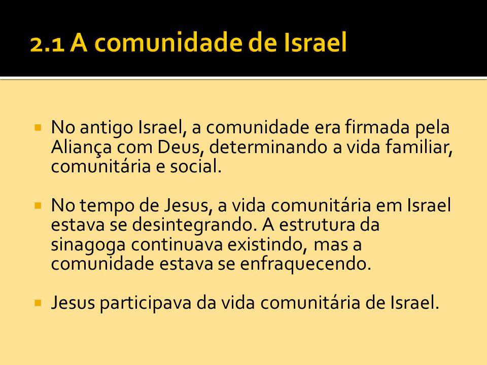  No antigo Israel, a comunidade era firmada pela Aliança com Deus, determinando a vida familiar, comunitária e social.  No tempo de Jesus, a vida co