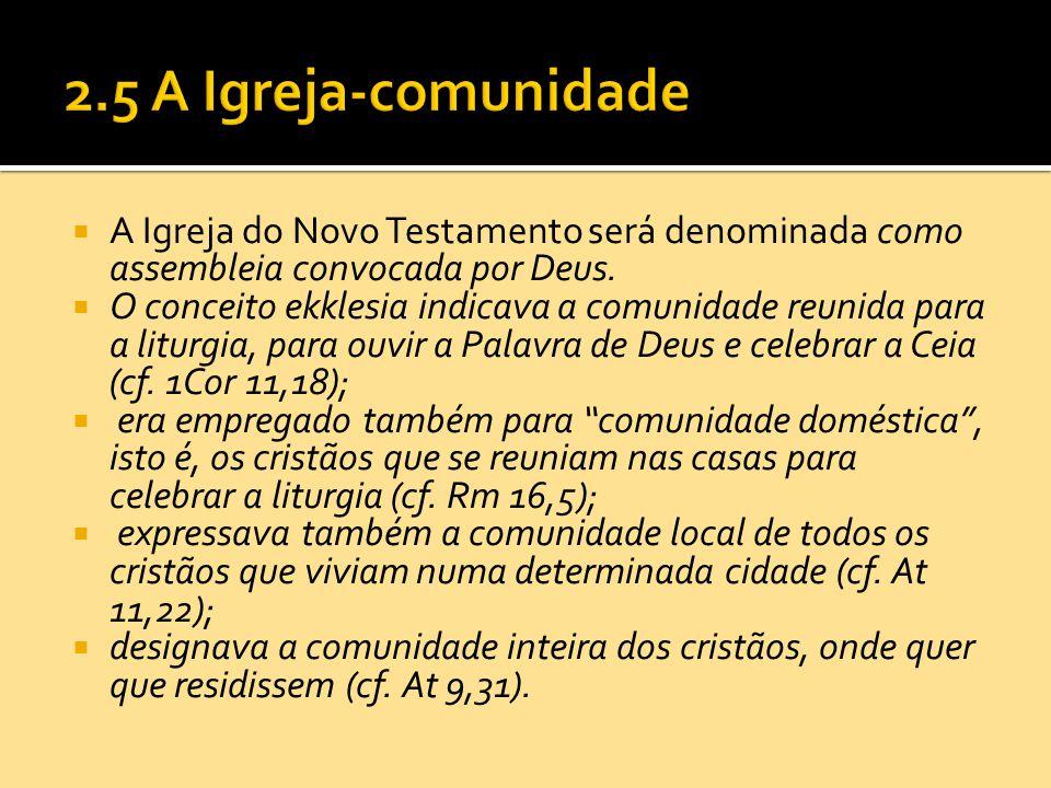  A Igreja do Novo Testamento será denominada como assembleia convocada por Deus.  O conceito ekklesia indicava a comunidade reunida para a liturgia,