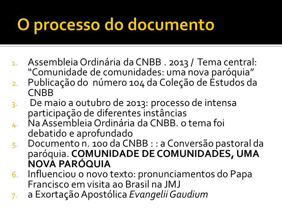 """1. Assembleia Ordinária da CNBB. 2013 / Tema central: """"Comunidade de comunidades: uma nova paróquia"""" 2. Publicação do número 104 da Coleção de Estudos"""