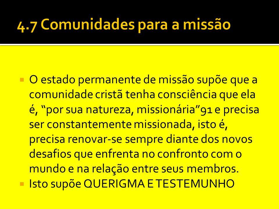 """ O estado permanente de missão supõe que a comunidade cristã tenha consciência que ela é, """"por sua natureza, missionária""""91 e precisa ser constanteme"""