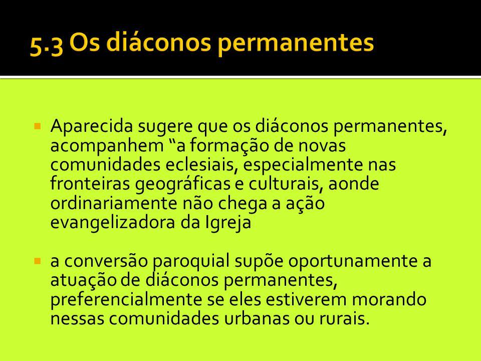 """ Aparecida sugere que os diáconos permanentes, acompanhem """"a formação de novas comunidades eclesiais, especialmente nas fronteiras geográficas e cult"""