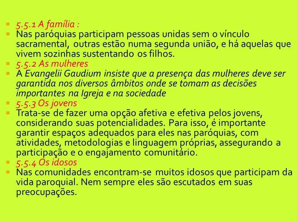  5.5.1 A família :  Nas paróquias participam pessoas unidas sem o vínculo sacramental, outras estão numa segunda união, e há aquelas que vivem sozin