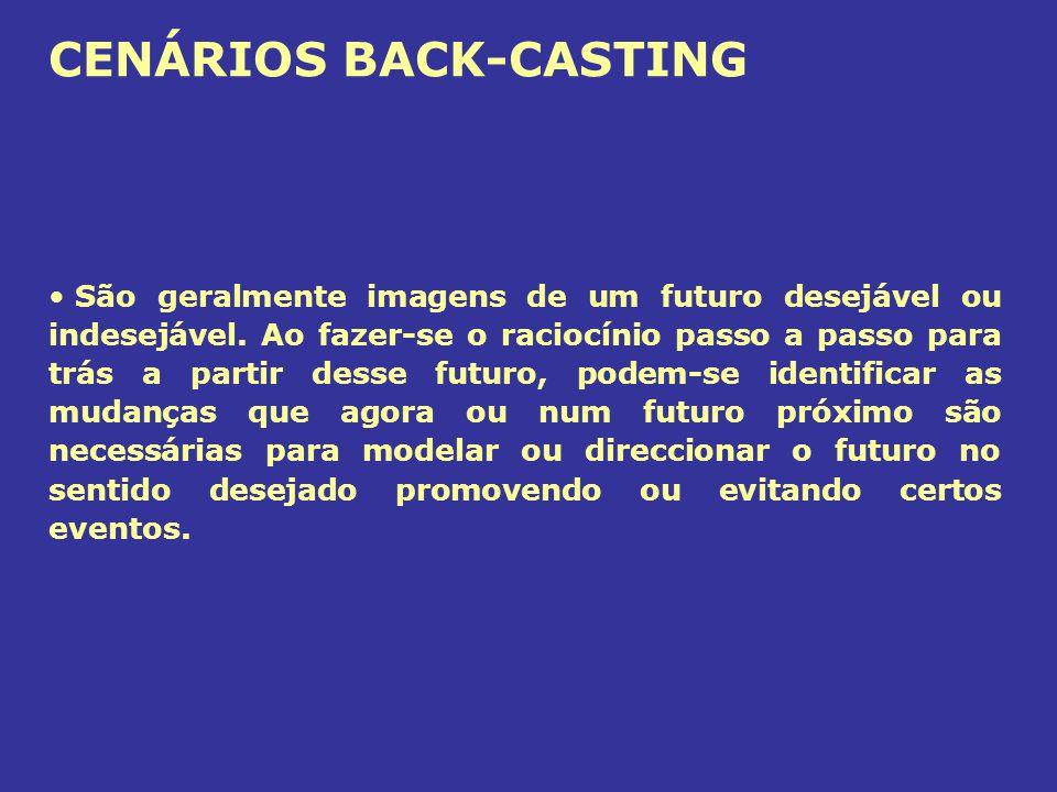 CENÁRIOS BACK-CASTING São geralmente imagens de um futuro desejável ou indesejável. Ao fazer-se o raciocínio passo a passo para trás a partir desse fu