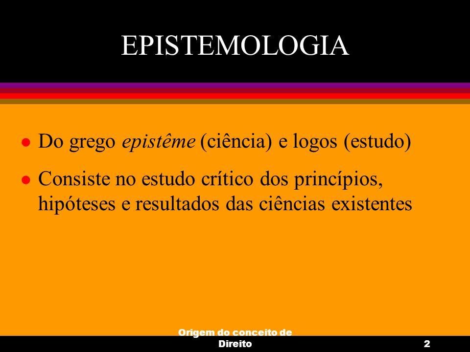 Origem do conceito de Direito2 EPISTEMOLOGIA l Do grego epistême (ciência) e logos (estudo) l Consiste no estudo crítico dos princípios, hipóteses e r