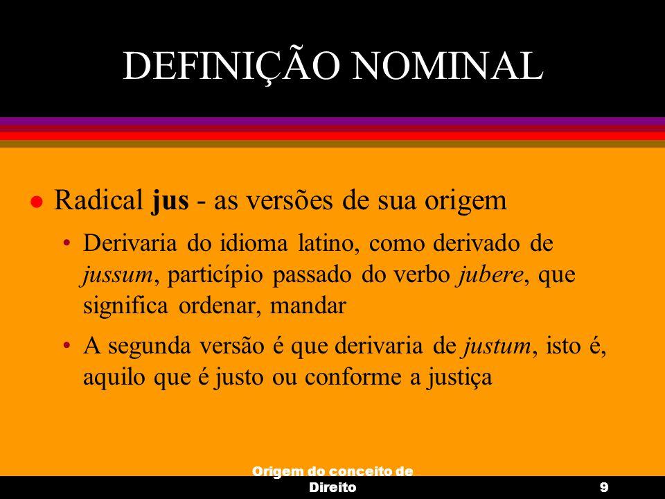 Origem do conceito de Direito9 DEFINIÇÃO NOMINAL l Radical jus - as versões de sua origem Derivaria do idioma latino, como derivado de jussum, particí