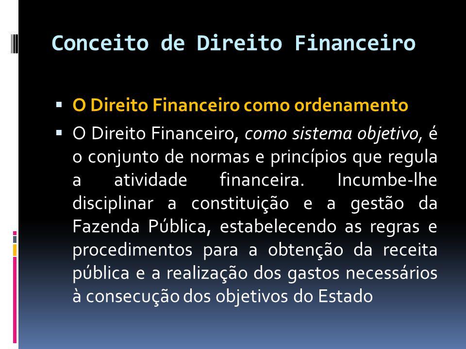 Conceito de Direito Financeiro  O Direito Financeiro como ordenamento  O Direito Financeiro, como sistema objetivo, é o conjunto de normas e princípios que regula a atividade financeira.