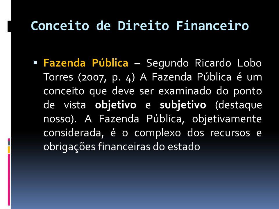 Conceito de Direito Financeiro  Fazenda Pública – Segundo Ricardo Lobo Torres (2007, p. 4) A Fazenda Pública é um conceito que deve ser examinado do