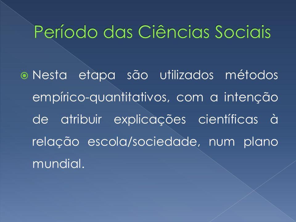  Nesta etapa são utilizados métodos empírico-quantitativos, com a intenção de atribuir explicações científicas à relação escola/sociedade, num plano