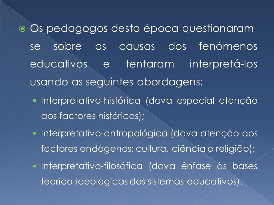  Os pedagogos desta época questionaram- se sobre as causas dos fenómenos educativos e tentaram interpretá-los usando as seguintes abordagens:  Inter