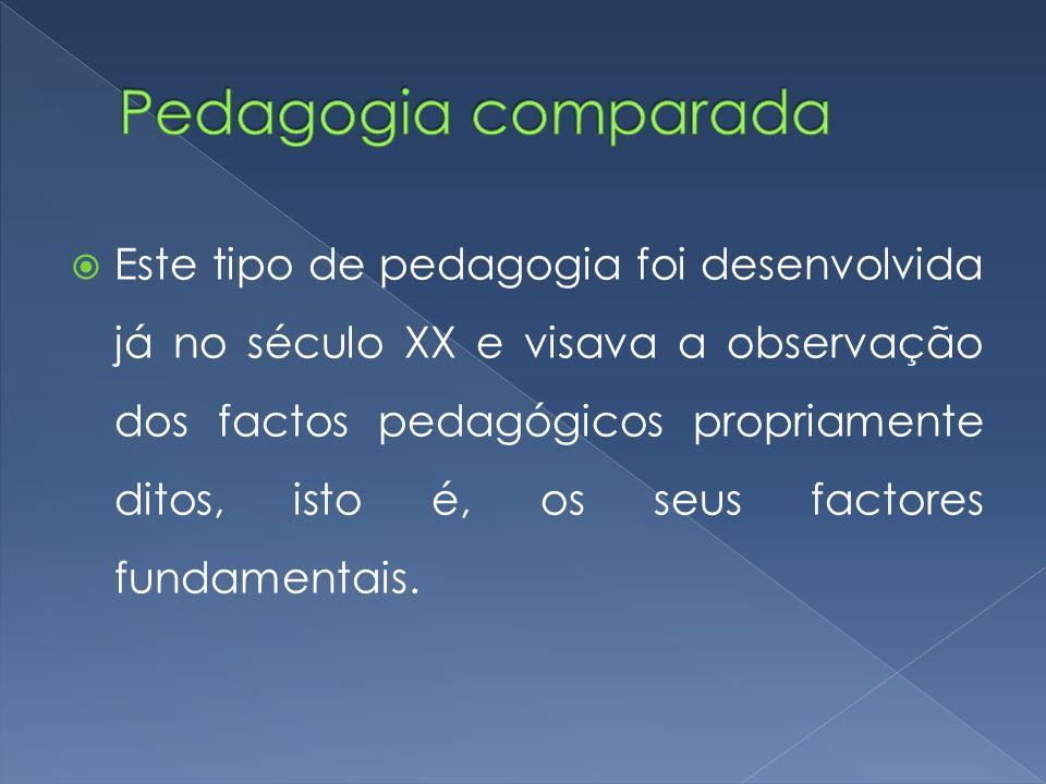  Este tipo de pedagogia foi desenvolvida já no século XX e visava a observação dos factos pedagógicos propriamente ditos, isto é, os seus factores fu