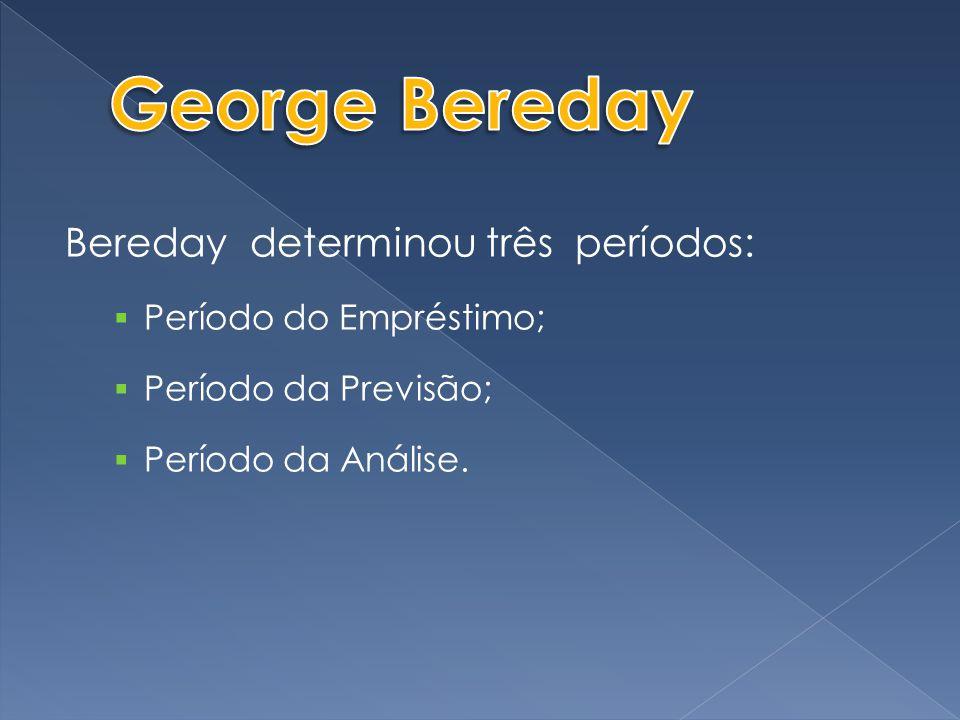 Bereday determinou três períodos:  Período do Empréstimo;  Período da Previsão;  Período da Análise.