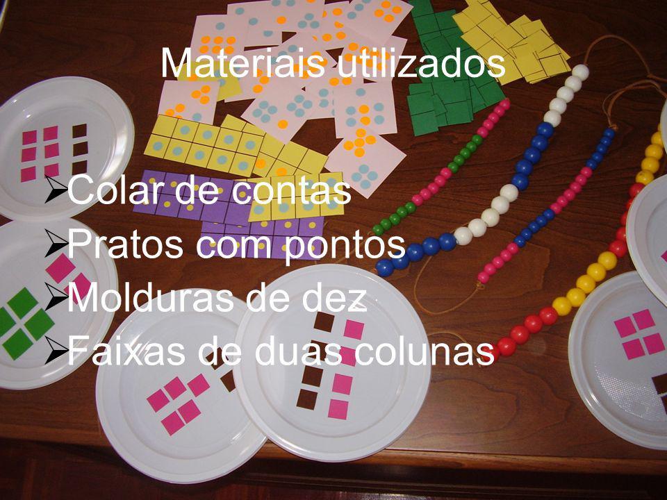 Materiais utilizados  Colar de contas  Pratos com pontos  Molduras de dez  Faixas de duas colunas