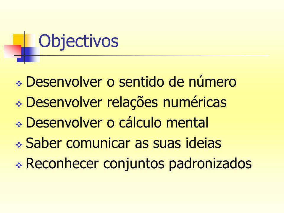 Objectivos  Desenvolver o sentido de número  Desenvolver relações numéricas  Desenvolver o cálculo mental  Saber comunicar as suas ideias  Reconhecer conjuntos padronizados