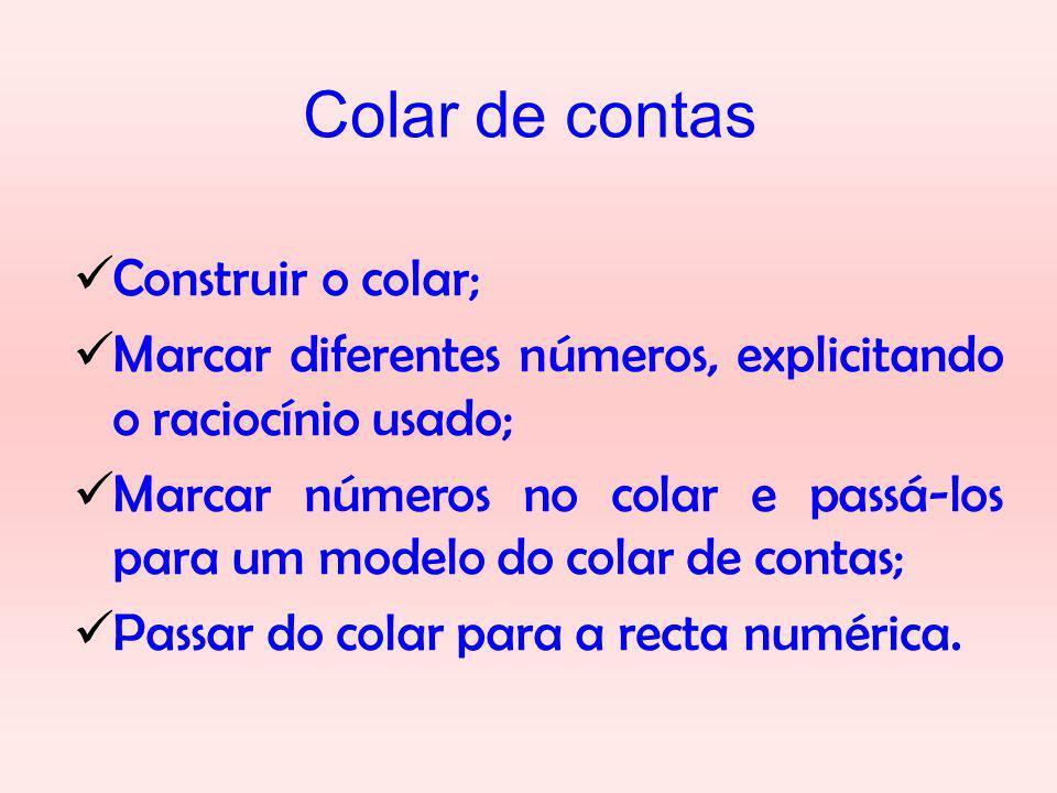 Colar de contas Construir o colar; Marcar diferentes números, explicitando o raciocínio usado; Marcar números no colar e passá-los para um modelo do colar de contas; Passar do colar para a recta numérica.