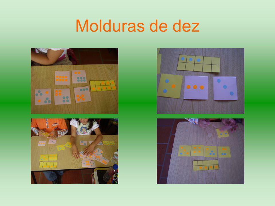 Dar uma moldura de dez com um determinado número de pontos;  Verbalizar diferentes relações numéricas para o número;  Distribuir vários cartões com padrões de pontos;  Encontrar os cartões que tenham o mesmo número de pontos da moldura.