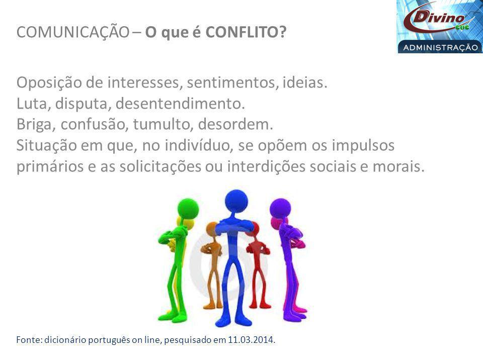 COMUNICAÇÃO – O que é CONFLITO? Oposição de interesses, sentimentos, ideias. Luta, disputa, desentendimento. Briga, confusão, tumulto, desordem. Situa
