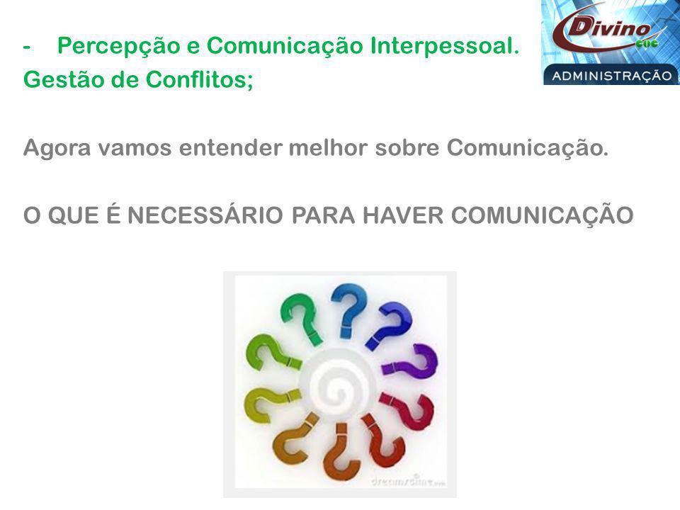 -Percepção e Comunicação Interpessoal.