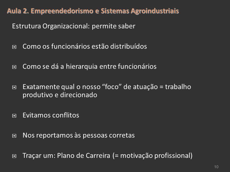 Estrutura Organizacional: permite saber  Como os funcionários estão distribuídos  Como se dá a hierarquia entre funcionários  Exatamente qual o nos