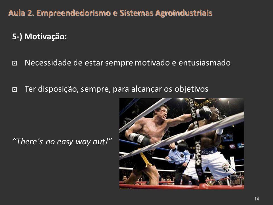 """5-) Motivação:  Necessidade de estar sempre motivado e entusiasmado  Ter disposição, sempre, para alcançar os objetivos """"There´s no easy way out!"""" 1"""