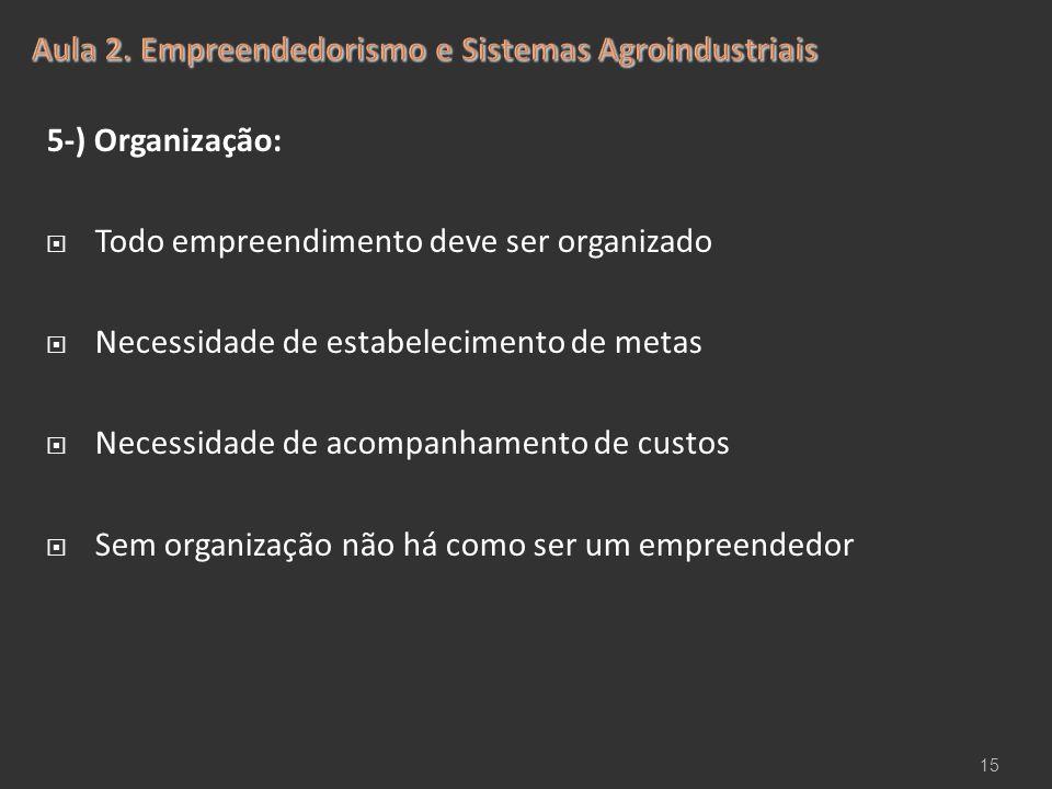 5-) Organização:  Todo empreendimento deve ser organizado  Necessidade de estabelecimento de metas  Necessidade de acompanhamento de custos  Sem o