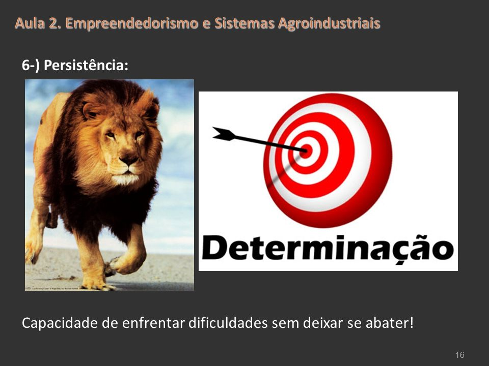 6-) Persistência: Capacidade de enfrentar dificuldades sem deixar se abater! 16
