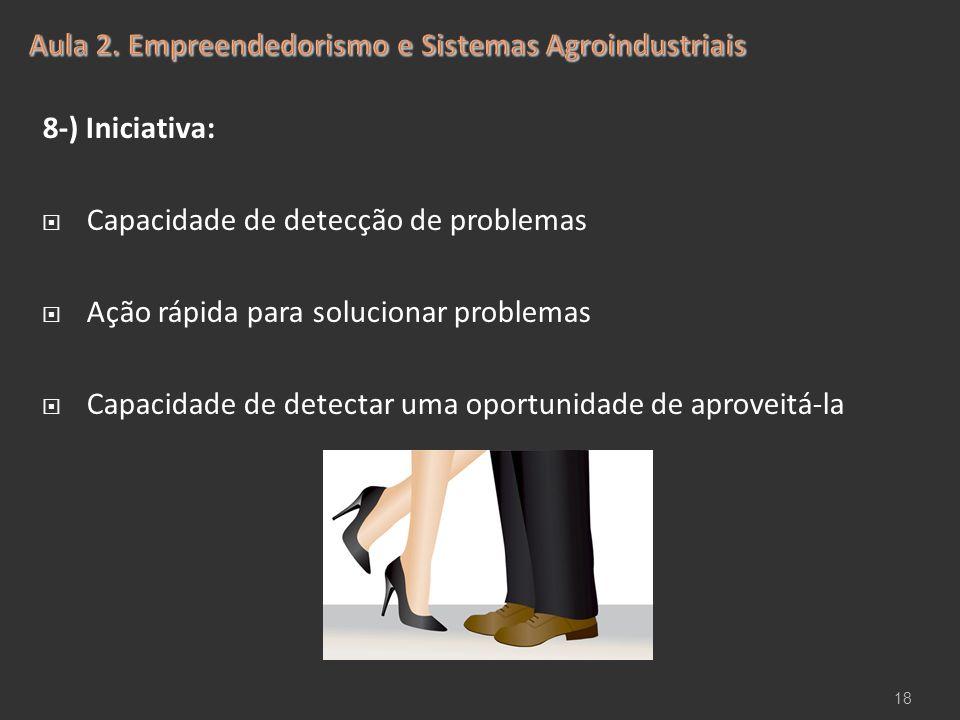 8-) Iniciativa:  Capacidade de detecção de problemas  Ação rápida para solucionar problemas  Capacidade de detectar uma oportunidade de aproveitá-l