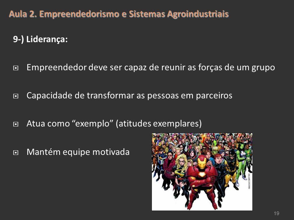 """9-) Liderança:  Empreendedor deve ser capaz de reunir as forças de um grupo  Capacidade de transformar as pessoas em parceiros  Atua como """"exemplo"""""""