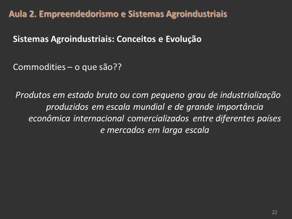 Sistemas Agroindustriais: Conceitos e Evolução Commodities – o que são?? Produtos em estado bruto ou com pequeno grau de industrialização produzidos e