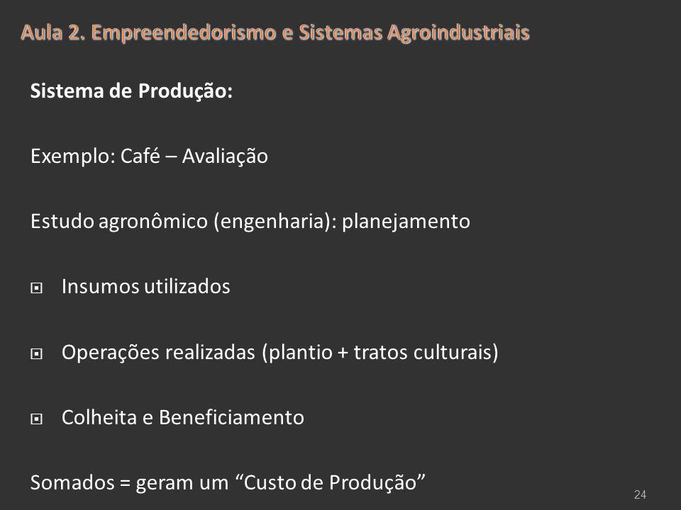 Sistema de Produção: Exemplo: Café – Avaliação Estudo agronômico (engenharia): planejamento  Insumos utilizados  Operações realizadas (plantio + tra