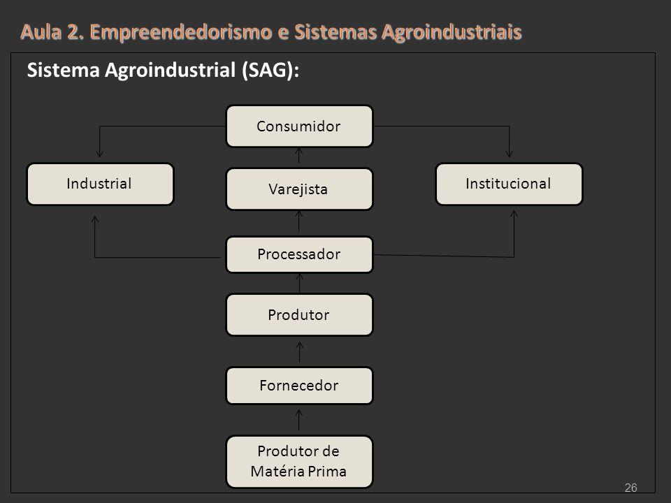Sistema Agroindustrial (SAG): 26 Consumidor Varejista Processador Produtor Fornecedor Produtor de Matéria Prima InstitucionalIndustrial