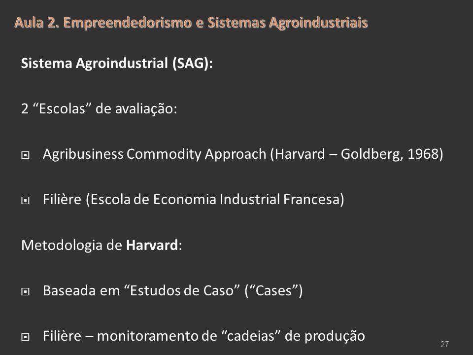 """Sistema Agroindustrial (SAG): 2 """"Escolas"""" de avaliação:  Agribusiness Commodity Approach (Harvard – Goldberg, 1968)  Filière (Escola de Economia Ind"""