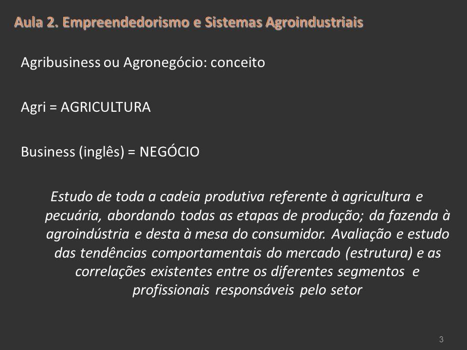 Agribusiness ou Agronegócio: conceito Agri = AGRICULTURA Business (inglês) = NEGÓCIO Estudo de toda a cadeia produtiva referente à agricultura e pecuá