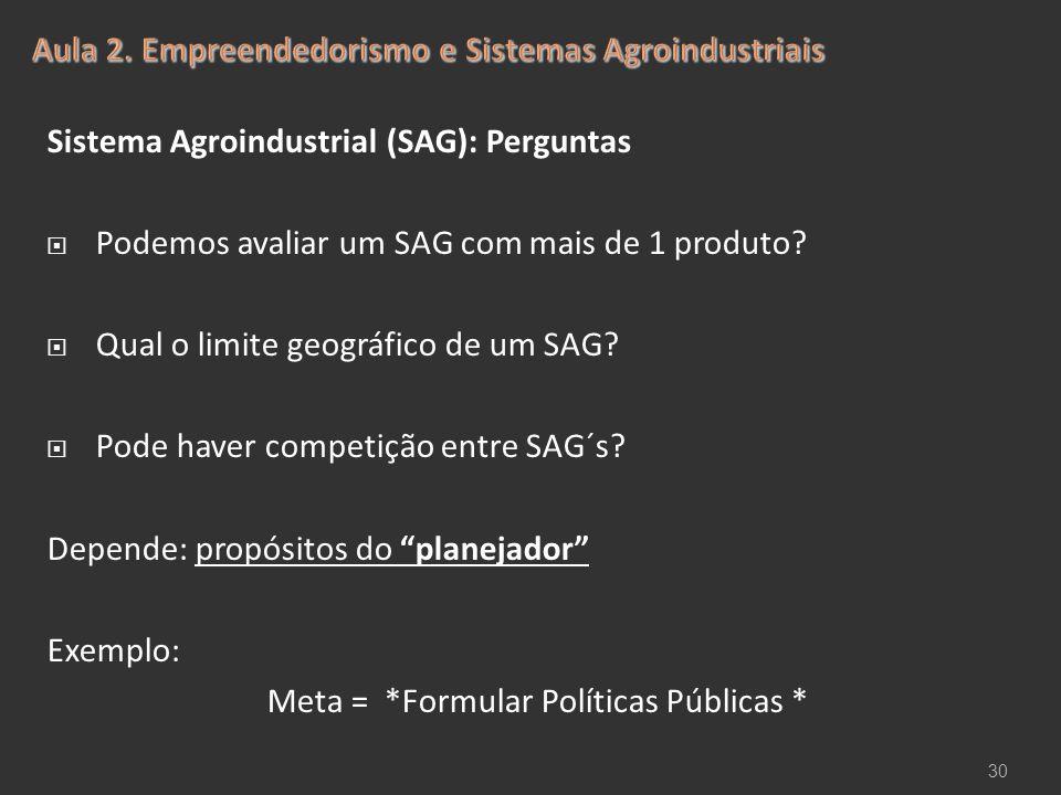 Sistema Agroindustrial (SAG): Perguntas  Podemos avaliar um SAG com mais de 1 produto?  Qual o limite geográfico de um SAG?  Pode haver competição
