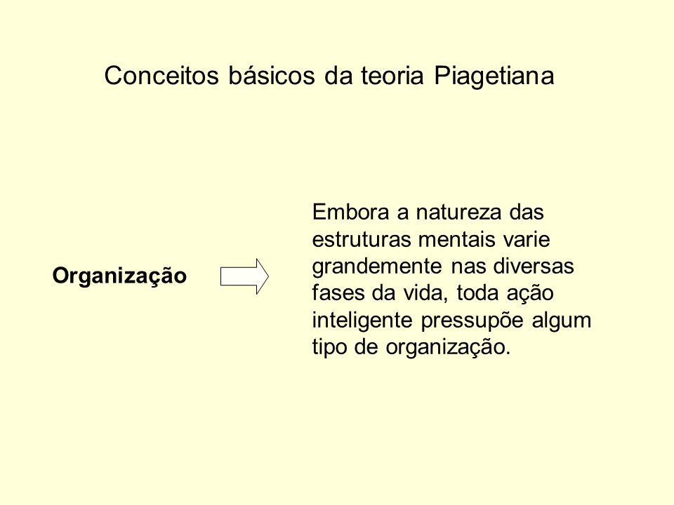 Conceitos básicos da teoria Piagetiana Organização Embora a natureza das estruturas mentais varie grandemente nas diversas fases da vida, toda ação inteligente pressupõe algum tipo de organização.