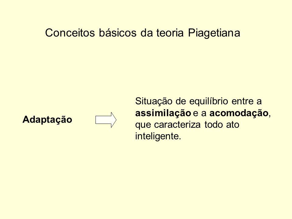 Conceitos básicos da teoria Piagetiana Adaptação Situação de equilíbrio entre a assimilação e a acomodação, que caracteriza todo ato inteligente.