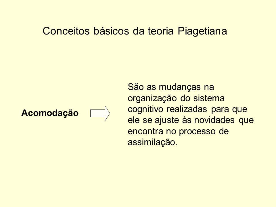 Conceitos básicos da teoria Piagetiana Acomodação São as mudanças na organização do sistema cognitivo realizadas para que ele se ajuste às novidades que encontra no processo de assimilação.