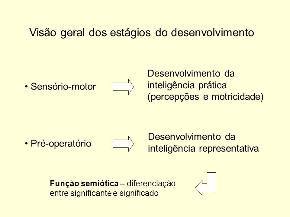 Visão geral dos estágios do desenvolvimento Sensório-motor Desenvolvimento da inteligência prática (percepções e motricidade) Pré-operatório Desenvolvimento da inteligência representativa Função semiótica – diferenciação entre significante e significado