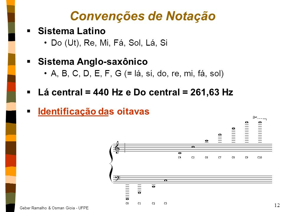Geber Ramalho & Osman Gioia - UFPE 12 Convenções de Notação  Sistema Latino Do (Ut), Re, Mi, Fá, Sol, Lá, Si  Sistema Anglo-saxônico A, B, C, D, E,