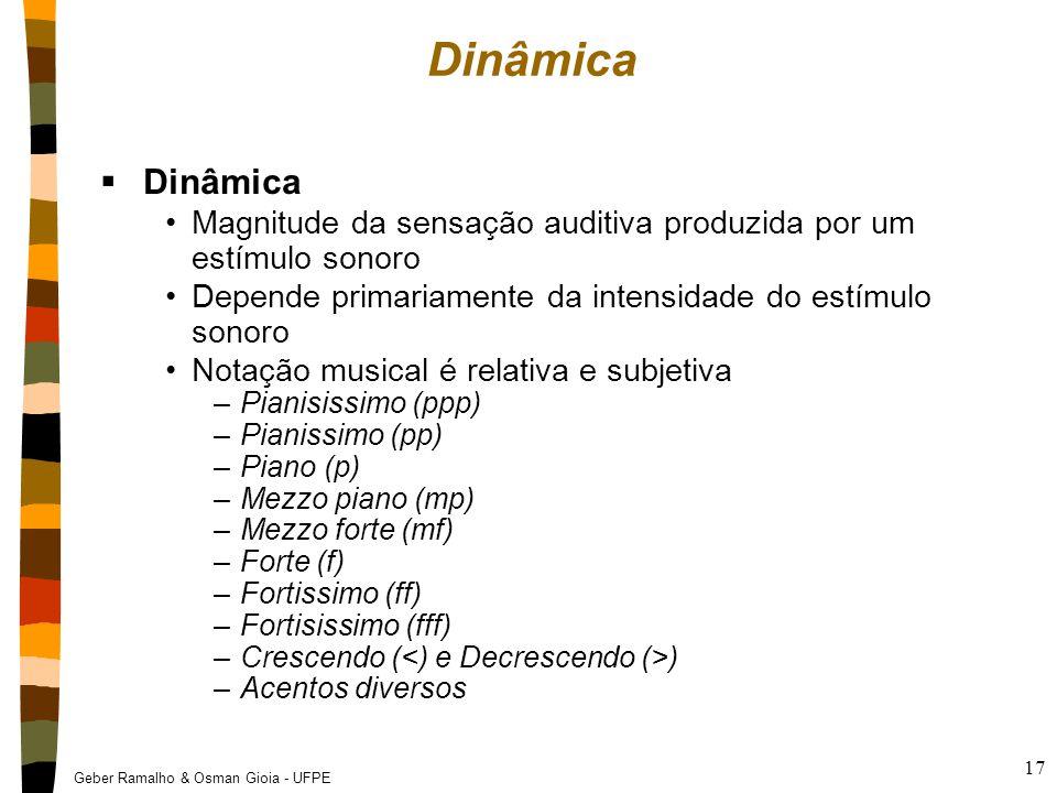Geber Ramalho & Osman Gioia - UFPE 17 Dinâmica  Dinâmica Magnitude da sensação auditiva produzida por um estímulo sonoro Depende primariamente da int