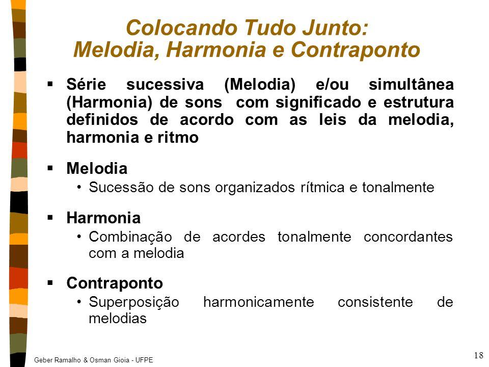 Geber Ramalho & Osman Gioia - UFPE 18 Colocando Tudo Junto: Melodia, Harmonia e Contraponto  Série sucessiva (Melodia) e/ou simultânea (Harmonia) de