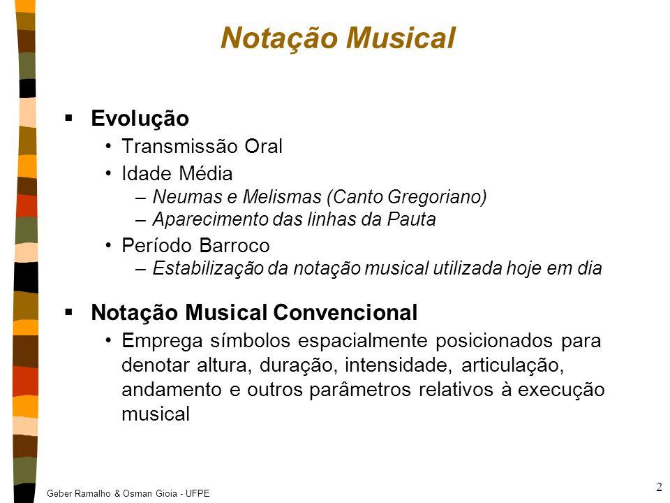 Geber Ramalho & Osman Gioia - UFPE 2 Notação Musical  Evolução Transmissão Oral Idade Média –Neumas e Melismas (Canto Gregoriano) –Aparecimento das l
