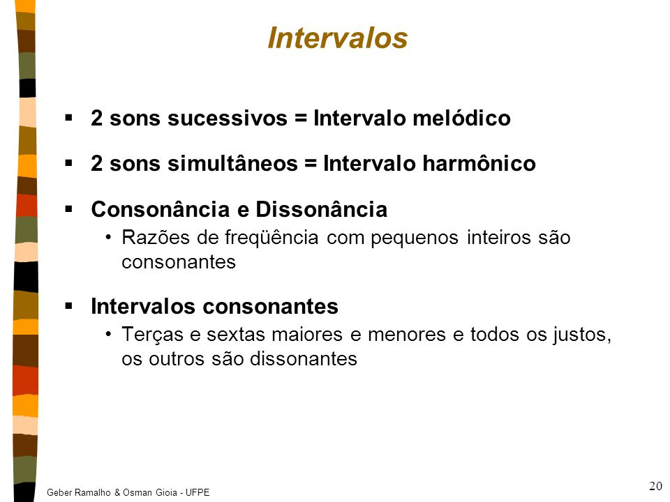 Geber Ramalho & Osman Gioia - UFPE 20 Intervalos  2 sons sucessivos = Intervalo melódico  2 sons simultâneos = Intervalo harmônico  Consonância e D