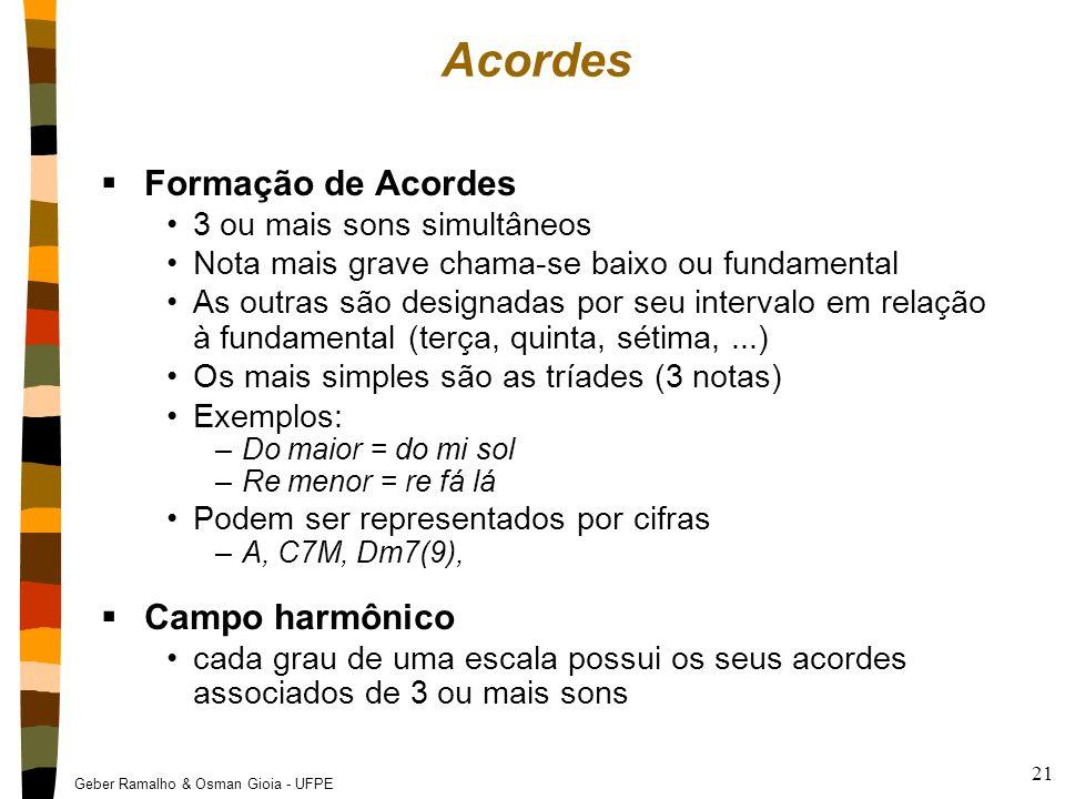 Geber Ramalho & Osman Gioia - UFPE 21 Acordes  Formação de Acordes 3 ou mais sons simultâneos Nota mais grave chama-se baixo ou fundamental As outras