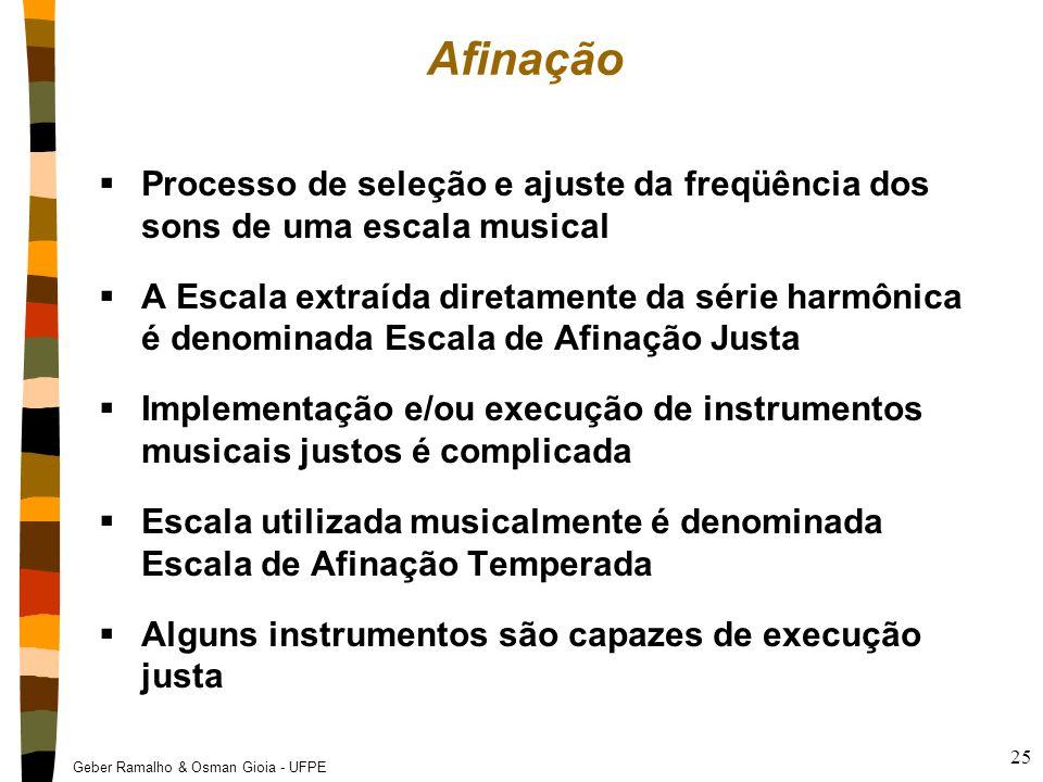 Geber Ramalho & Osman Gioia - UFPE 25 Afinação  Processo de seleção e ajuste da freqüência dos sons de uma escala musical  A Escala extraída diretam