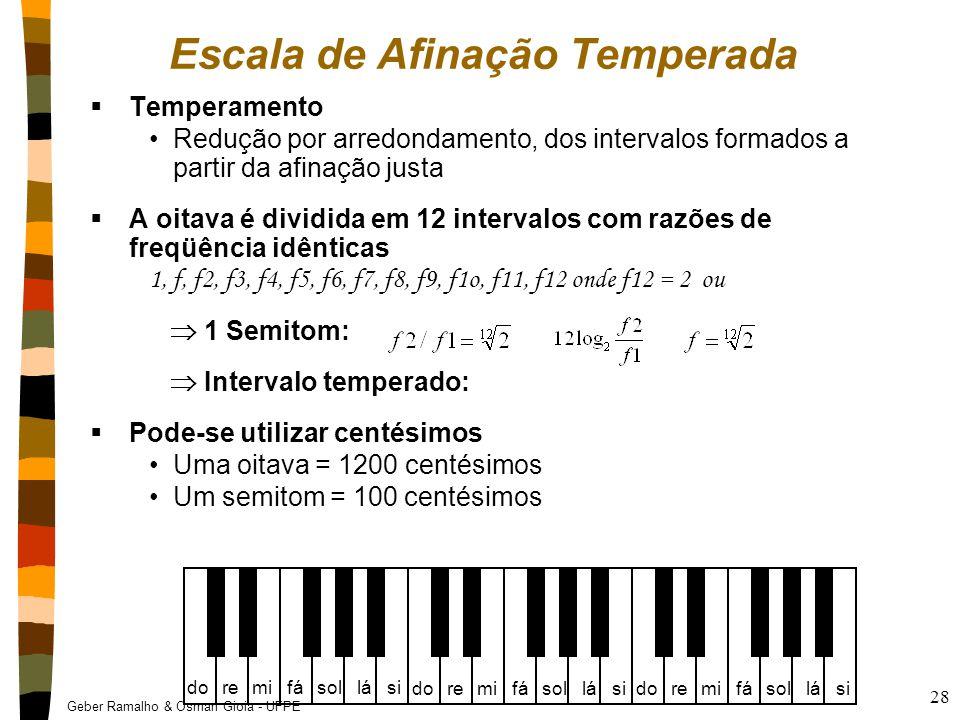Geber Ramalho & Osman Gioia - UFPE 28  Temperamento Redução por arredondamento, dos intervalos formados a partir da afinação justa  A oitava é divid